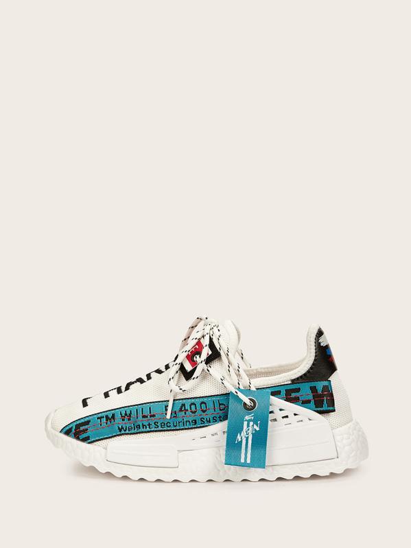 b82d5a38821dd Slogan Ribbon Decor Lace-up Sneakers | SHEIN UK