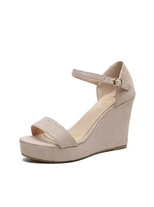 Open Toe Ankle Strap Suede Wedges