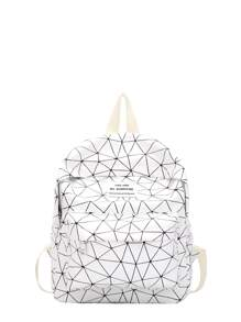 Geometric Print Pocket Front Backpack