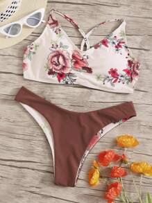 Random Floral Top With Hipster Cheeky Bikini Set