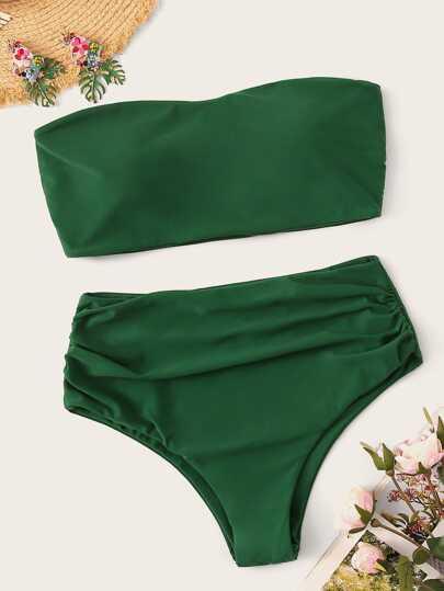 4773cf3f7fa Plus Bandeau With Ruched High Waist Bikini Set