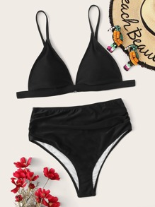 Plus Triangle Top With Ruched High Waist Bikini