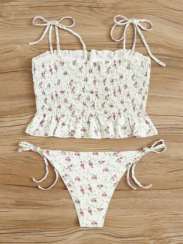 567914ba4ba Floral Smocked Ruffle Hem Top With Tie Side Bikini | SHEIN UK
