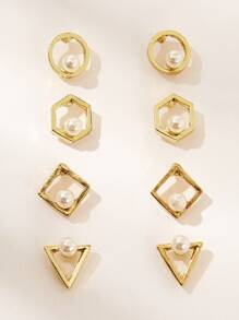 Faux Pearl Decor Open Geometric Stud Earring 4pairs