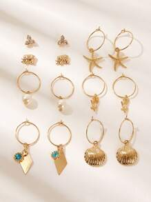 Shell & Starfish Shaped Hoop Drop Earring 7pairs