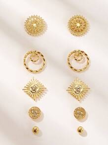 Hollow Out Flower Shaped Stud Earring 5pairs