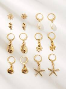 Shell & Starfish Shaped Drop Earring 7pairs
