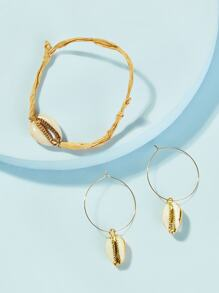 Shell Decor Bracelet & Hoop Drop Earring 3pcs