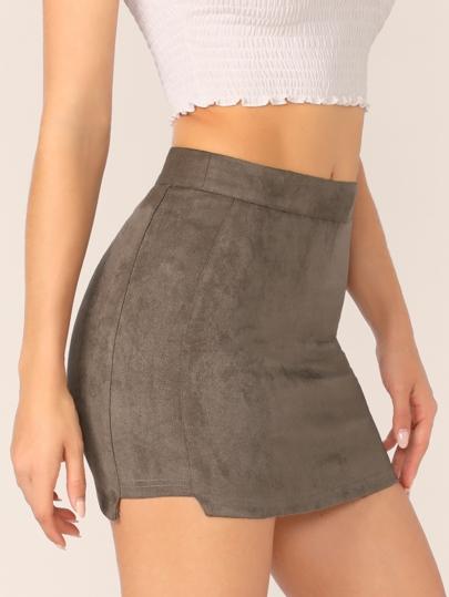 3a26011d50 Wide Waistband Asymmetrical Hem Suede Skirt