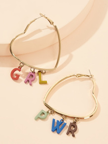 Letter Charm Heart Shaped Earrings 1pair