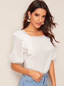 Contrast Lace Ruffle Trim Square Neck Blouse