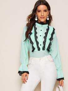 Contrast Lace Flounce Sleeve Blouse