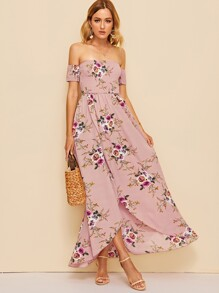 Off Shoulder Shirred Bodice Floral Wrap Dress