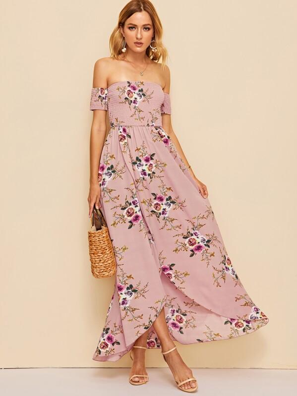 71745397ad7 Off Shoulder Shirred Bodice Floral Wrap Dress