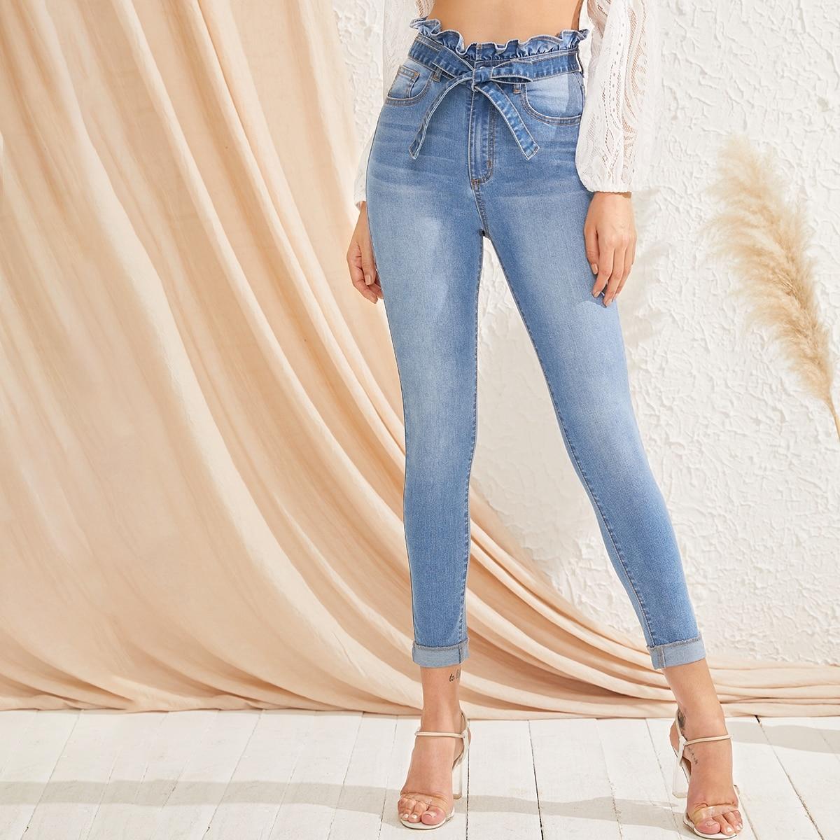 Bleach Wash High-Waisted High Stretch Skinny Jeans