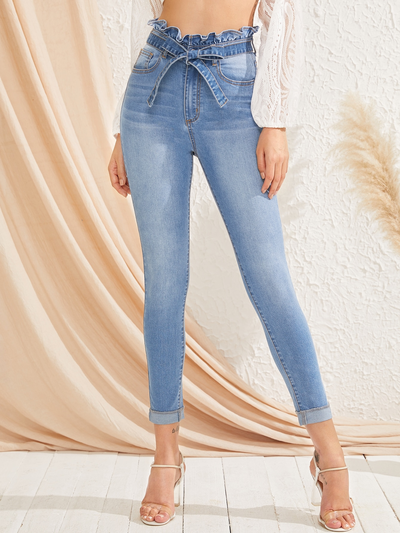 71c259a650 Paperbag Waist Bleach Wash Skinny Jeans