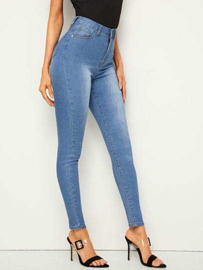 Bleach Wash High Waist Skinny Jeggings