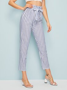 Paperbag Waist Striped Crop Cigarette Pants