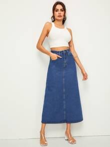 622f24c8e 5-pocket Longline Straight Denim Skirt | SHEIN