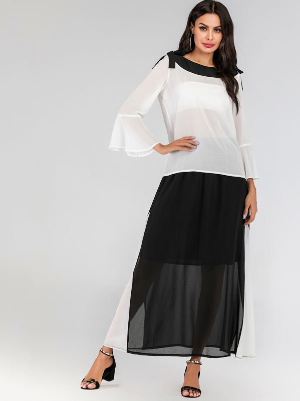 c3336c5a8c Flounce Sleeve Top & Color Block Maxi Skirt