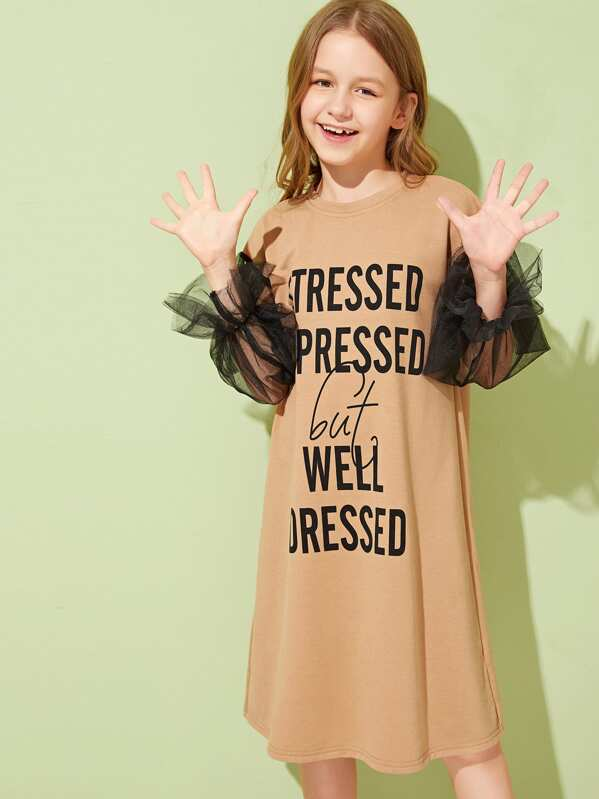 bcbdcbd36d47 Girls Mesh Lantern Sleeve Slogan Print Tunic Dress | SHEIN