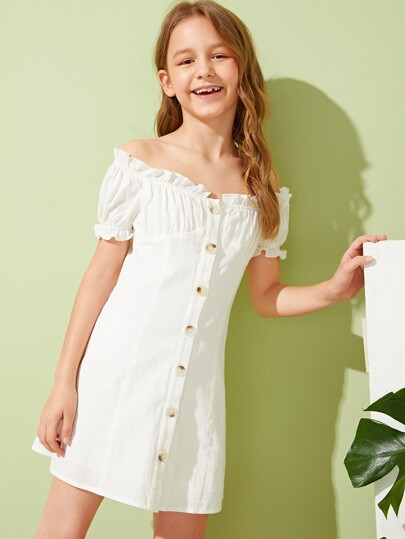 Girls Off Shoulder Frilled Button Front Pleated Dress