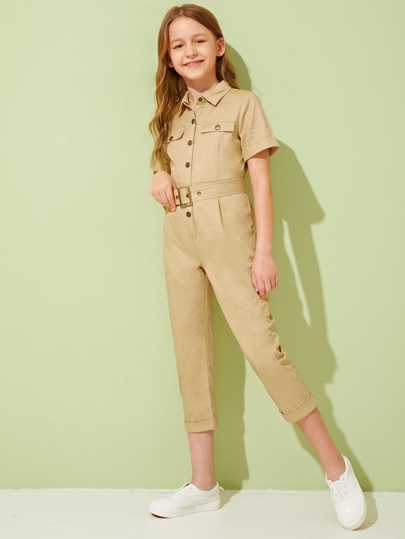 Girls Flap Pocket Cuffed Sleeve Belted Utility Jumpsuit