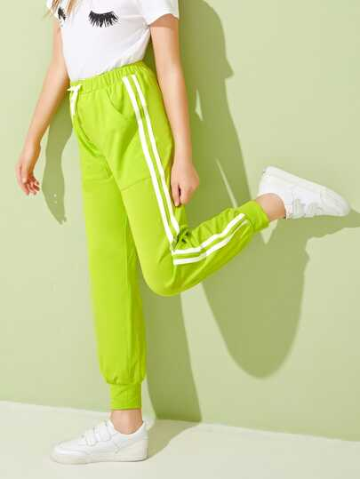 Girls Neon Lime Striped Tape Side Sweatpants
