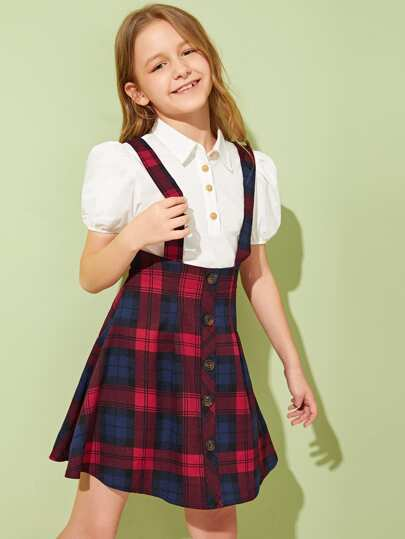1d76d68724 Falda de tira de niñas con botón con estampado de cuadros