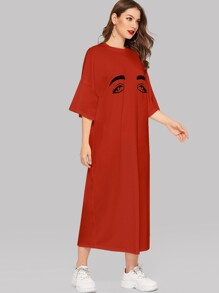 Eyes Print Drop Shoulder Tee Dress