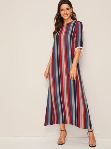 Tassel Trim Cuff Striped Tunic Dress