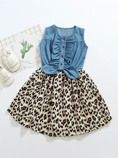 4f289283db59 Toddler Girls Leopard Panel Ruffle Trim Bow Detail Button Front Dress