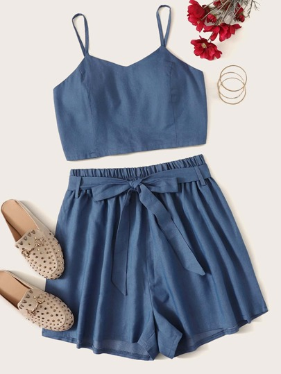 09d187400 Plus Denim Shirred Cami Top With Belted Shorts