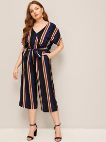Plus Striped Belted Jumpsuit