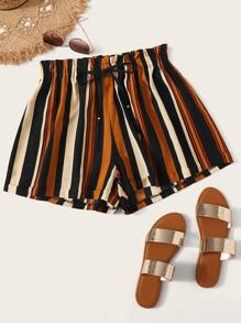 Plus Striped Drawstring Waist Paperbag Shorts