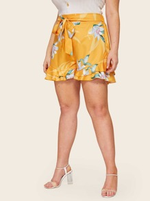 Plus Large Floral Print Layer Ruffle Hem Tie Front Shorts