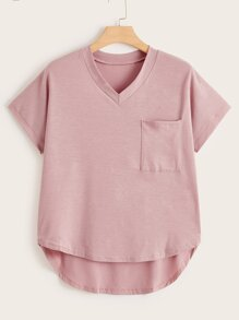 Plus V-neck Dip Hem Pocket Tee