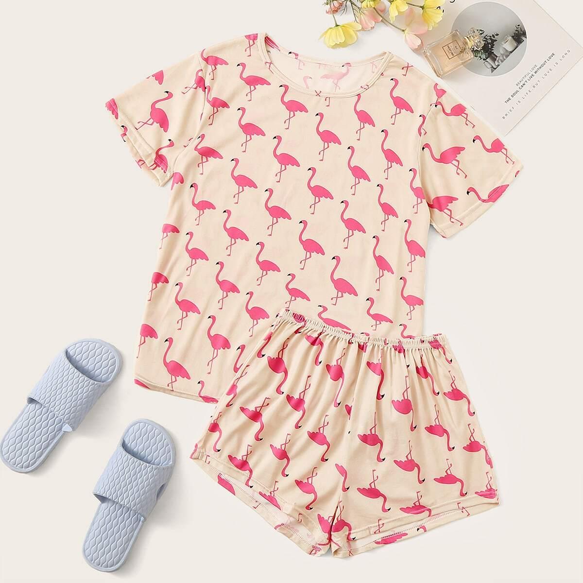Пижама с принтом фламинго