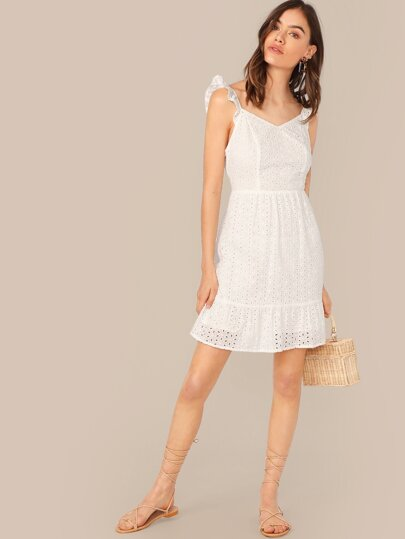 Ruffle Strap Fit & Flare Schiffy Dress