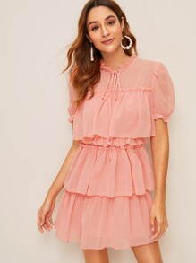 Tie Neck Ruffle Trim Tiered Layer Dress