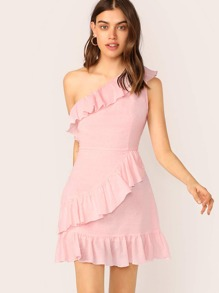 One Shoulder Ruffle Trim Dress