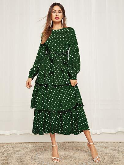 Polka Dot Self Belted Layered Hem Dress