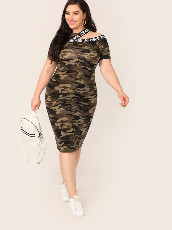 Plus Lettering Tape Asymmetrical Neck Camo Print Dress