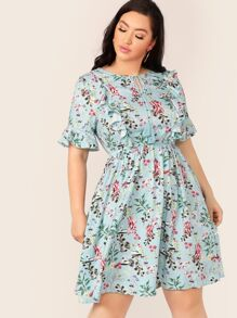 Plus Tassel Tie Neck Elastic Waist Floral Dress
