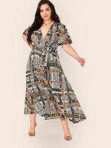Plus Surplice Neck Scarf Print Belted Dress