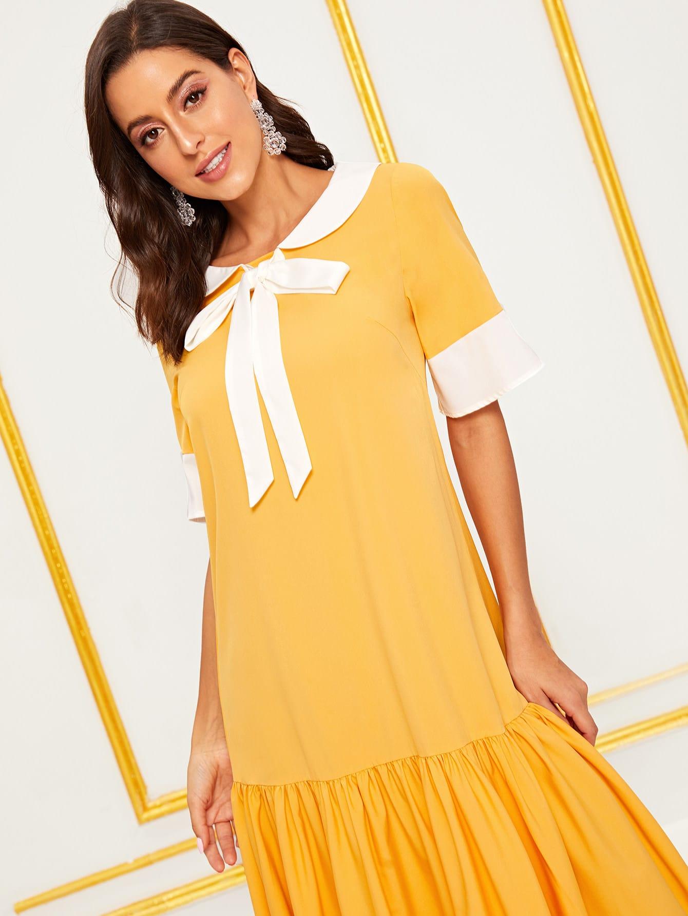 Elegant Einfarbig Gelb Kleider | SHEIN