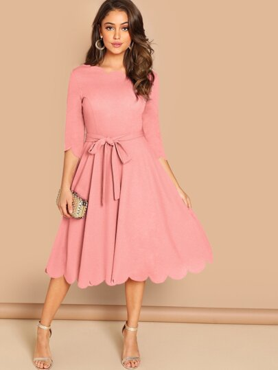 2366b1a987 Scallop Trim Belted Flare Dress