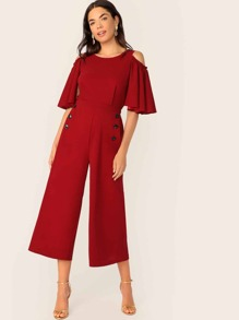 Cold Shoulder Flutter Sleeve Wide Leg Jumpsuit