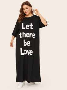 Plus Slogan Print Nightdress