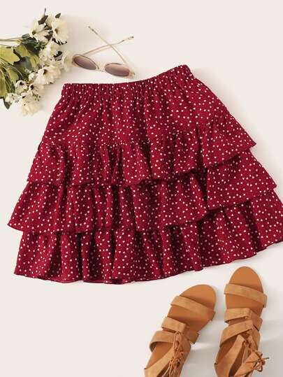 Plus Confetti Heart Print Layered Skirt